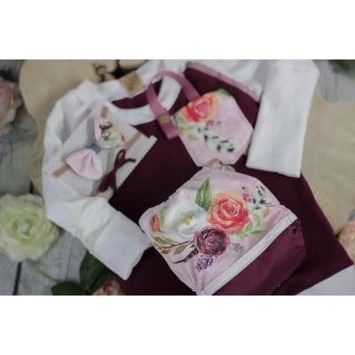 Trio - Couche à poche boho fleuris, chandail évolutif et bouclette assortie