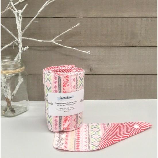 Papiers hygiéniques lavables - Écotidien -  géométrique rose